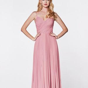 Dusty Rose Sweetheart Neck Long Dress CD7471